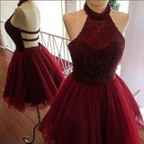 Burgundy A-line Halter Beading Backless Homecoming Dress