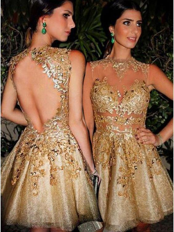 Gorgeous A-line Scoop Gold Short Homecoming Dress with Open Back