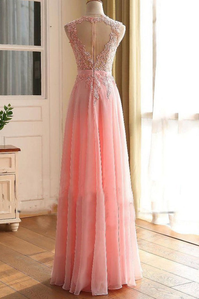 2019 A Line Scoop With Applique Prom Dresses Chiffon