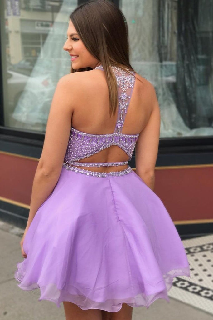 Two Piece Scoop Beading Homecoming Dress