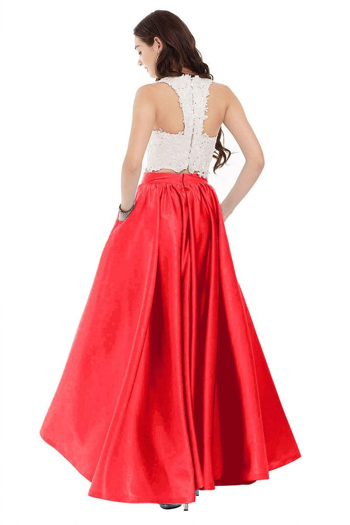 2019 Two Pieces Prom Dresses Satin With Applique Floor