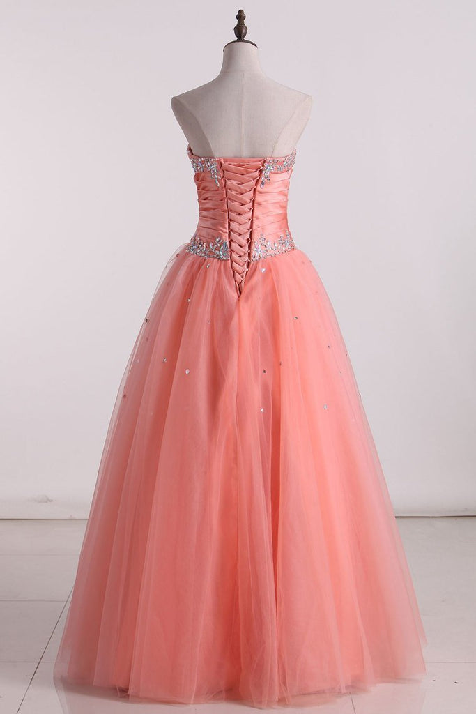 2019 Hot Fuchsia Quinceanera Dresses Ball Gown Sweetheart Floor-Length Tulle With Embroidery Lace Up