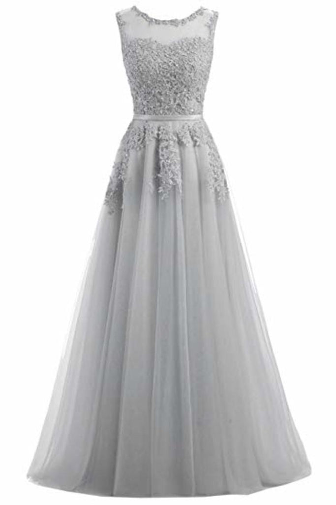 Beautiful A-Line Long Lace Tulle Zipper Evening Dress Ball Gown Bridesmaid