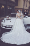 A Line Round Neck Tulle Wedding Dresses With Appliques Wedding STBPYP3F2BA