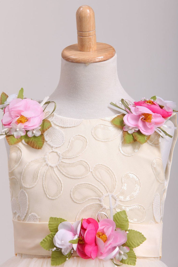 Scoop Flower Girl Dresses A-Line With Flowers Lace &