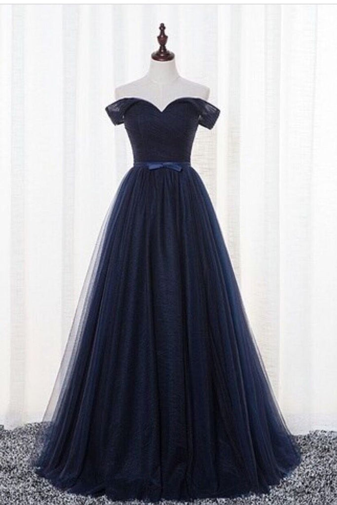 2019 Prom Dresses A-Line Off-The-Shoulder Tulle Floor-Length Dark Navy