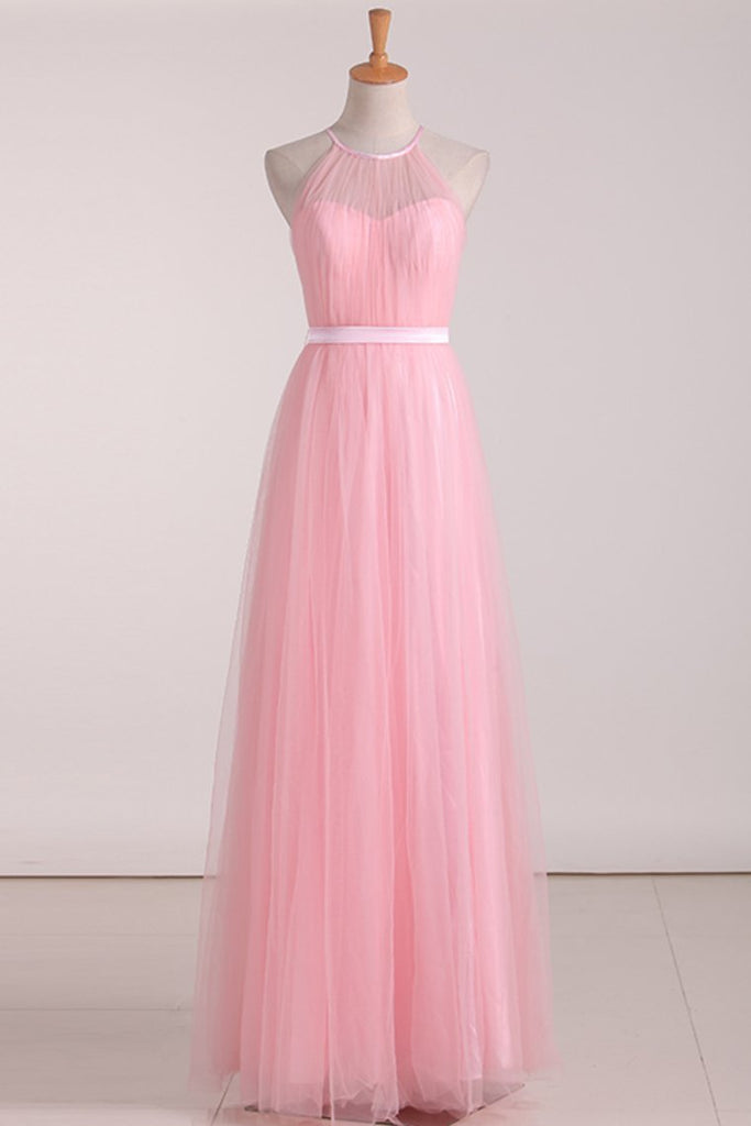 Floor Length Halter Ruched Bodice A Line Tulle Bridesmaid Dresses