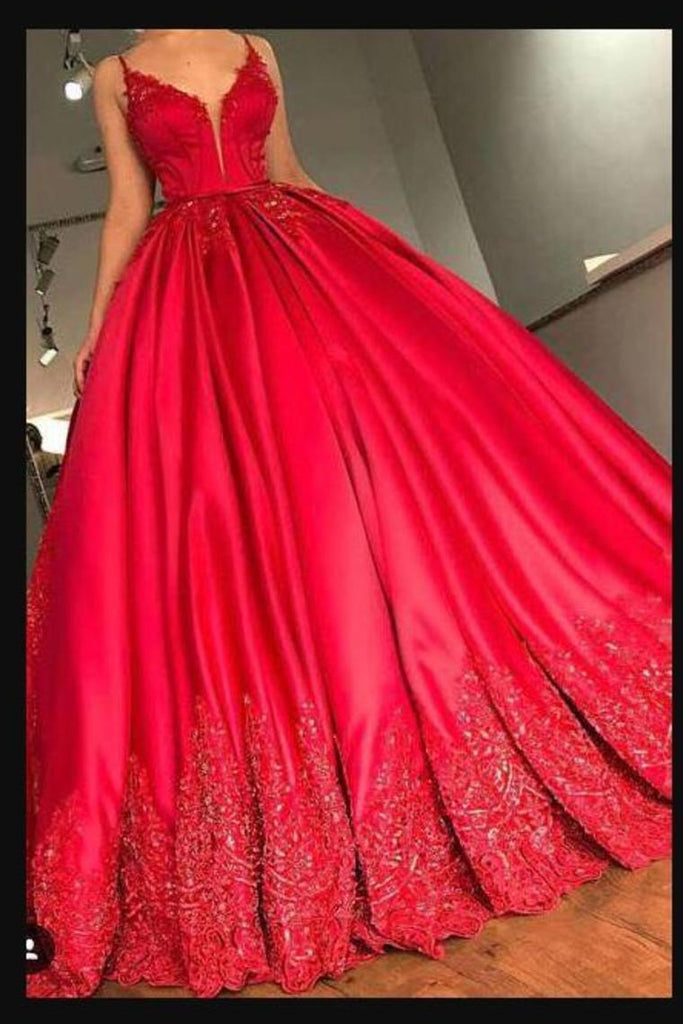 2019 Spaghetti Straps Prom Dresses Satin A Line With Applique