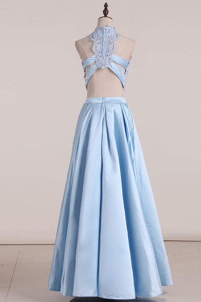 2019 Two Pieces Prom Dresses Satin With Applique Floor Length Lace