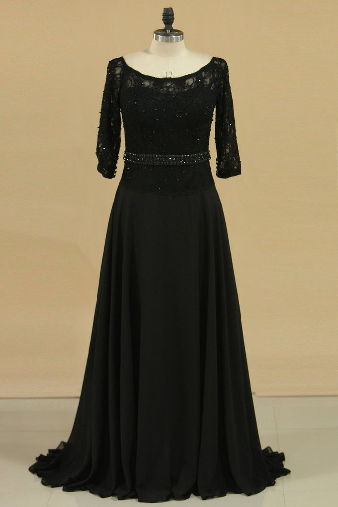 2019 Black Mother Of The Bride Dresses 3/4 Length Sleeve A Line Chiffon & Lace Sweep Train