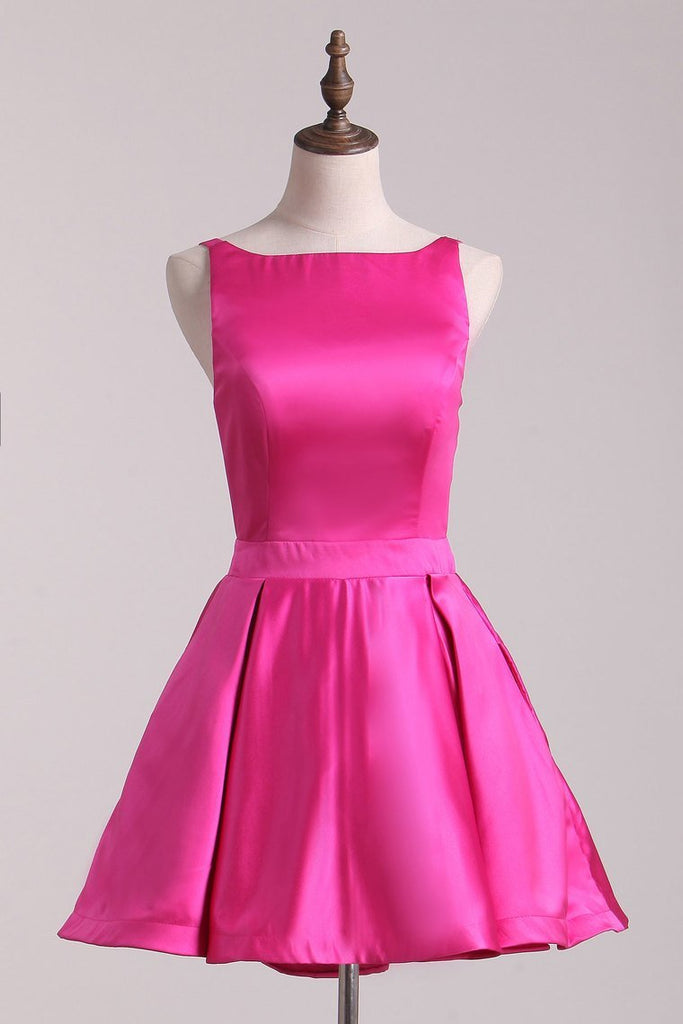 2019 Fuchsia Sexy Back Straps Homecoming Dresses A Line Satin