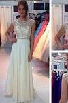 New Ivory Chiffon Long Cap Sleeves Charming Open Back Scoop A-line Beading Prom Dresses