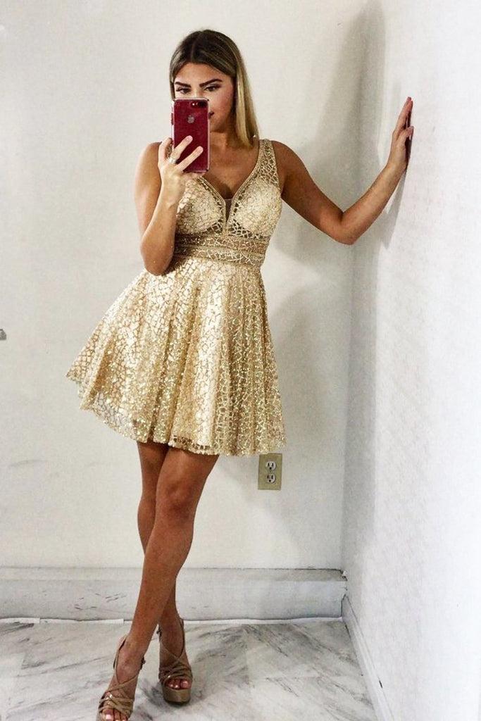 Sparkling Homecoming Dress A Line V Neck Sequins With