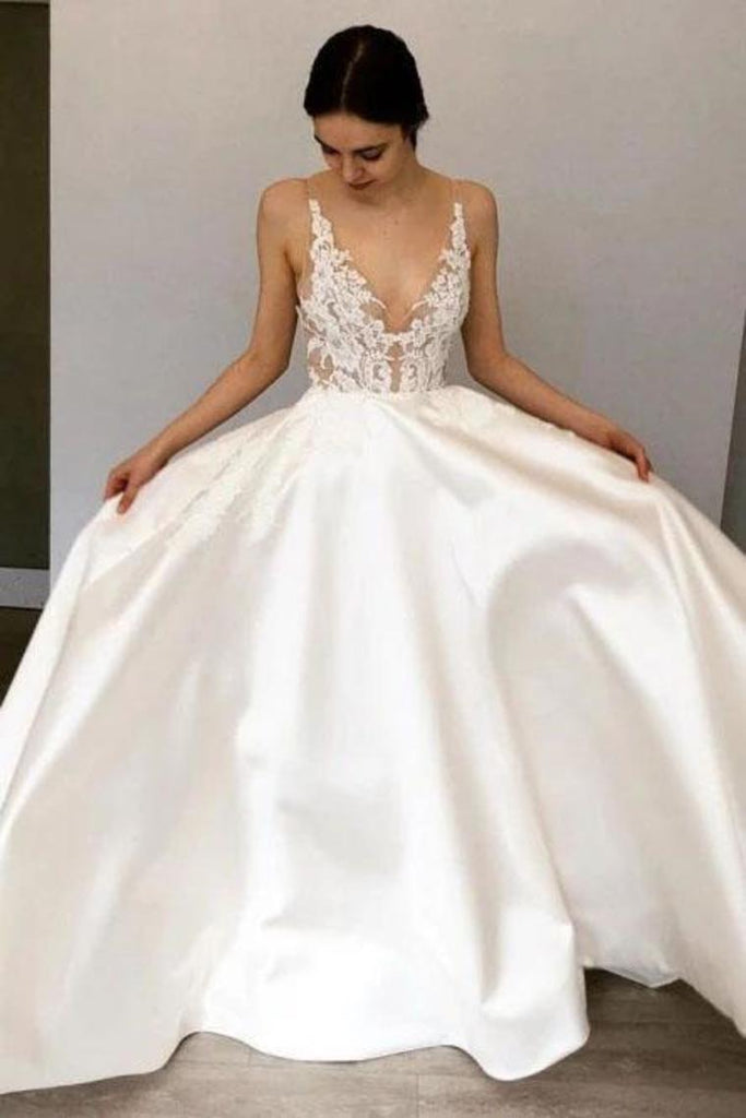 Simple A-Line Deep V Neck Satin Ivory Wedding Dress With Lace STBPR2KHCZB