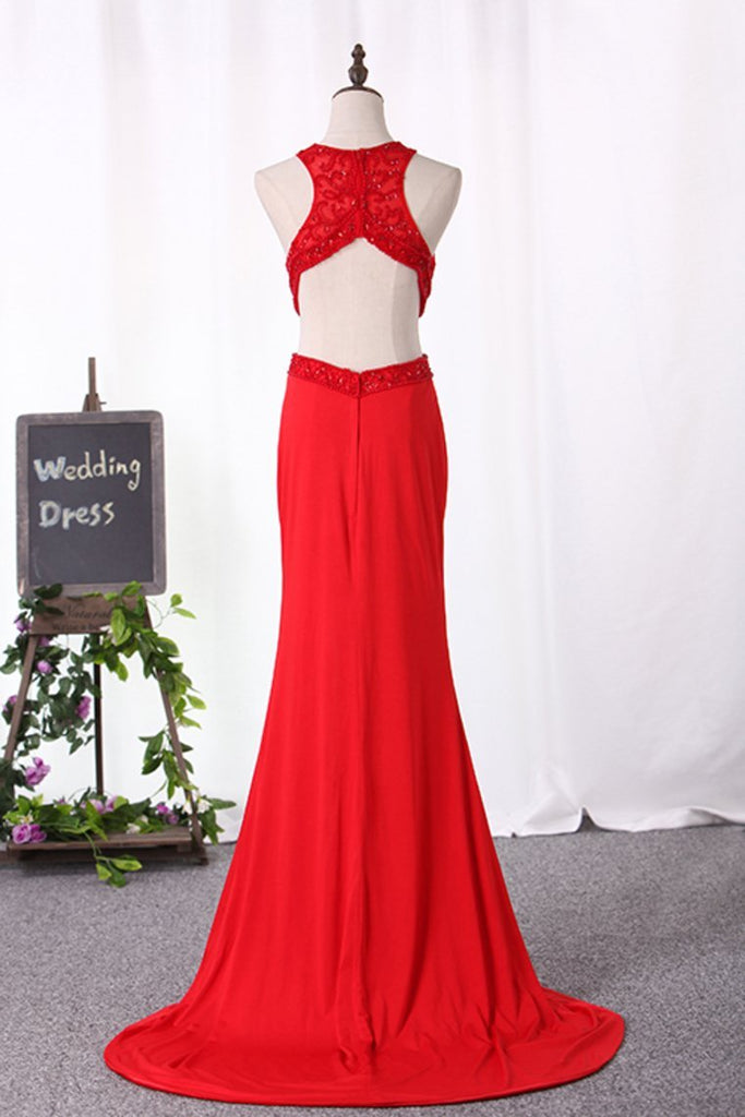 2019 Sexy Open Back Scoop Mermaid Prom Dresses Spandex With Embroidery