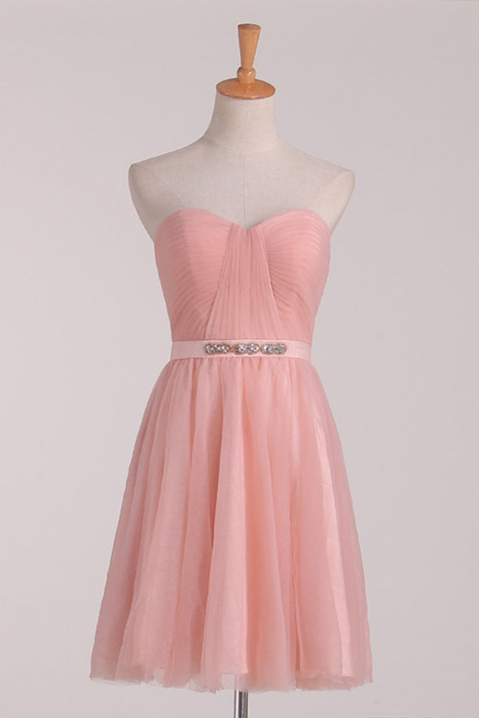 A Line Bridesmaid Dresses Sweetheart With Ruffles And Sash Tulle Short/Mini