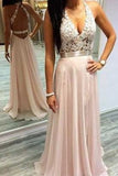 Sexy Pink Prom Dresses Halter V-Neck Lace Sleeveless Open Back Chiffon Evening Gowns