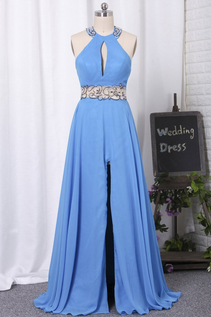2019 Halter Open Back Prom Dresses A Line Chiffon With Beads And