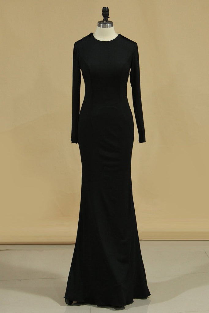 2019 Long Sleeve Evening Dresses Sheath Backless