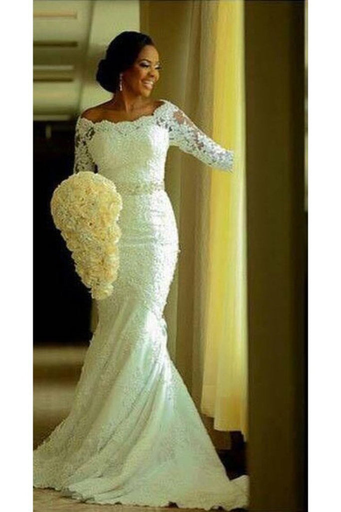 Boat Neck 3/4 Length Sleeves Wedding Dresses Mermaid Tulle With