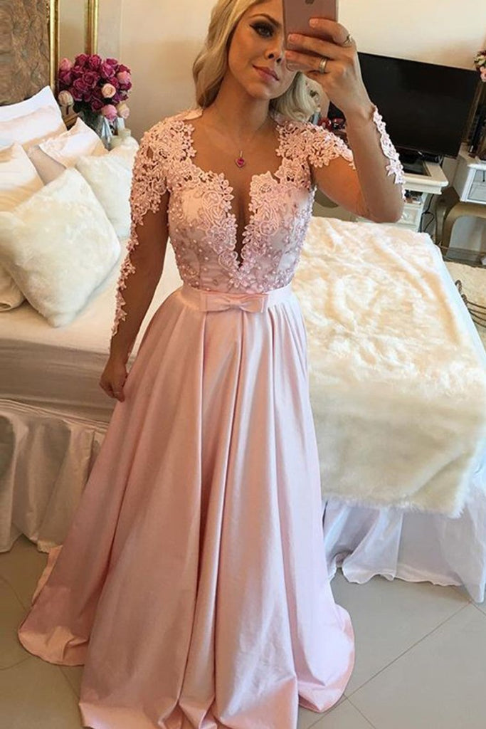 2019 Long Sleeves Scoop Prom Dresses A Line Satin With Applique And Beads