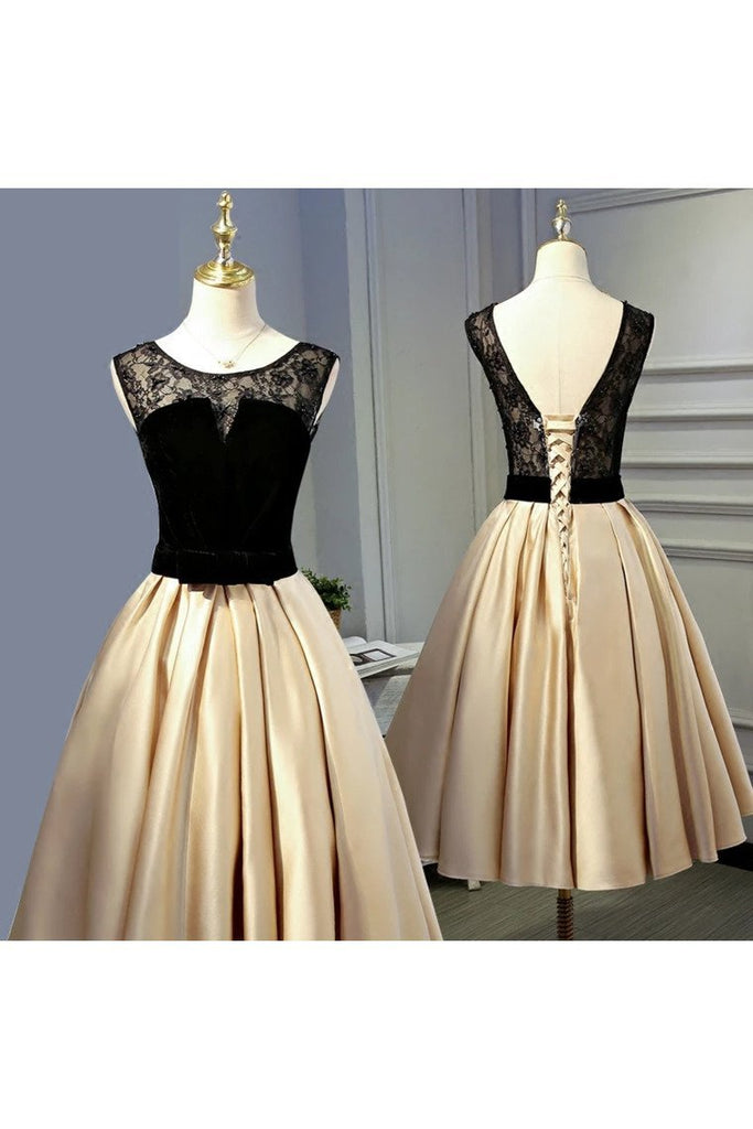 A Line Round Neck Satin Short Homecoming Dresses With Black