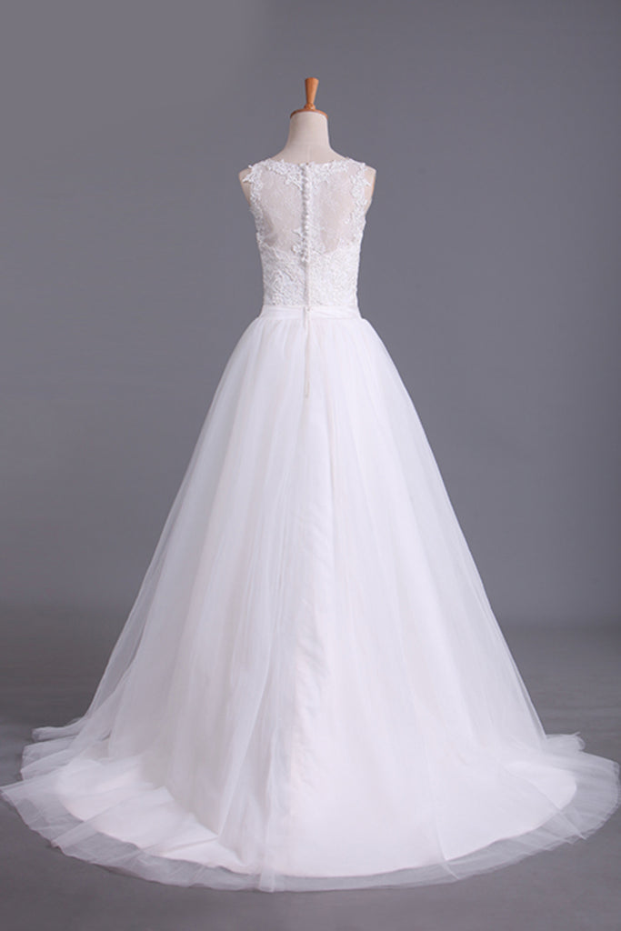 New Arrival Spaghetti Straps Wedding Dresses Sheath Lace & Tulle With Applique Court Train STBPRX2EKZH