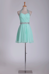 2019 Mint Homecoming Dresses Halter A-Line Short/Mini Chiffon With Beading