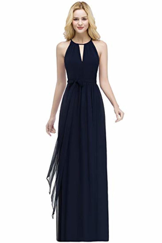 Bow Knot Chiffon Round Neck A Line Sleeveless Wedding Bridesmaid Long Evening Festive Party
