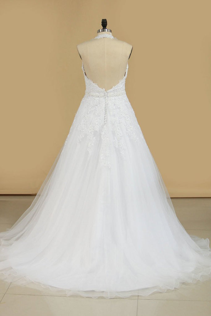 2019 Organza Halter Open Back With Applique Wedding Dresses A