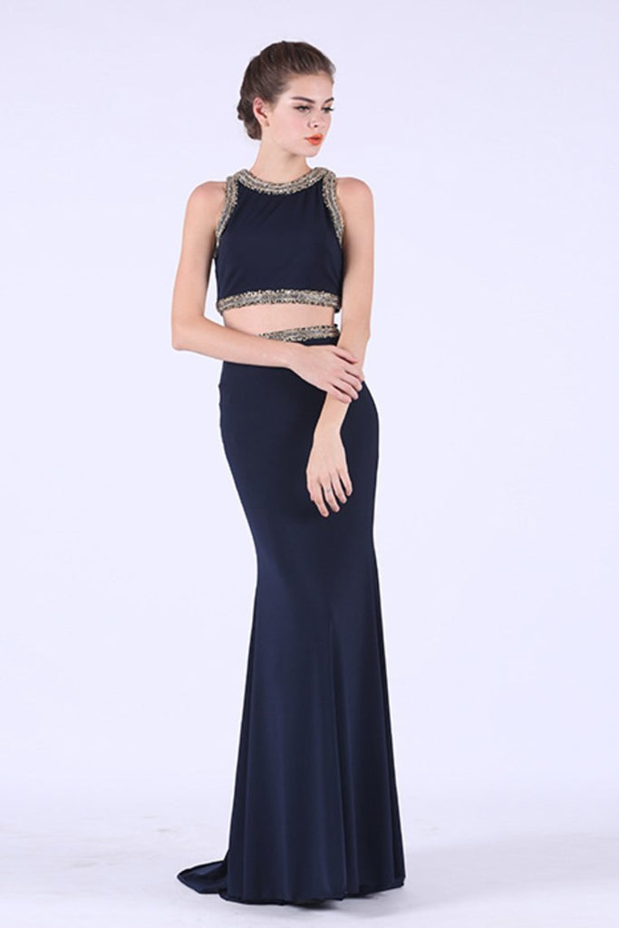 2019 Two-Piece Scoop Spandex With Beading Mermaid Prom