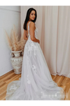Romantic V Neckline Backless Wedding Dress Appliqued Ball Gown Bridal STBPSMCZA6Q