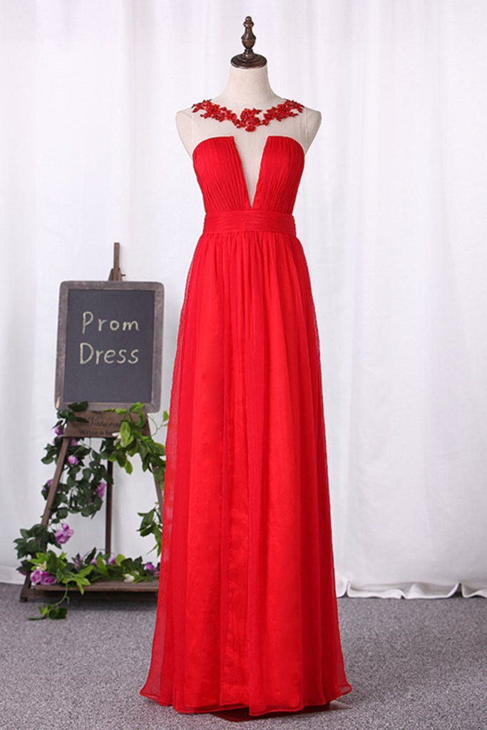 2019 Prom Dresses A Line Scoop Chiffon With Ruffles And