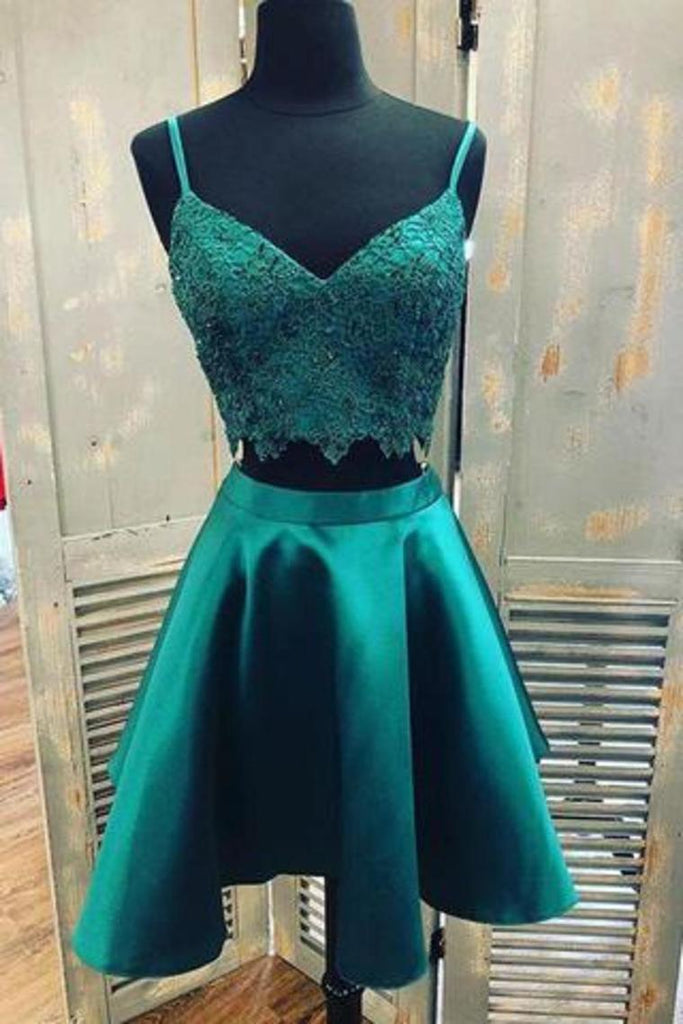 Teal Two Piece Satin Homecoming Dresses With Lace Spaghetti Strap Graduation