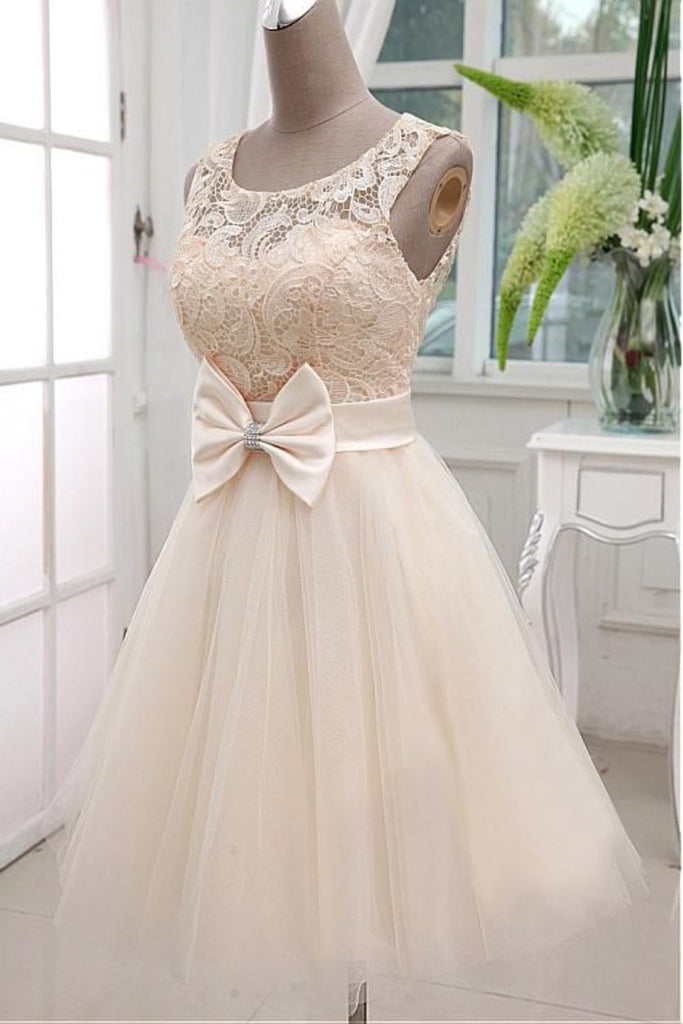 2019 A Line Scoop Tulle & Lace Homecoming Dresses With
