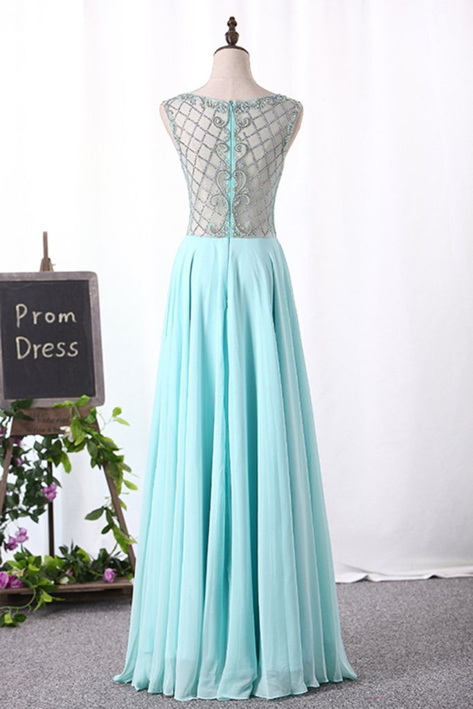 2019 A Line Boat Neck Chiffon Prom Dresses With Beading Floor Length
