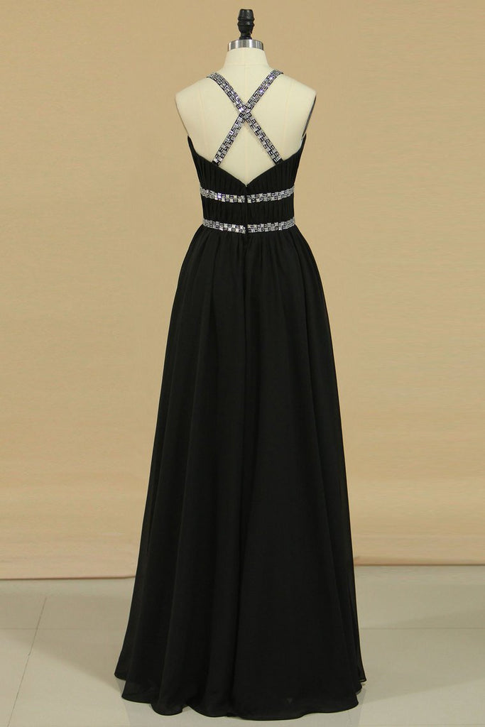 2019 Floor Length Halter A Line Prom Dresses Chiffon With Beading