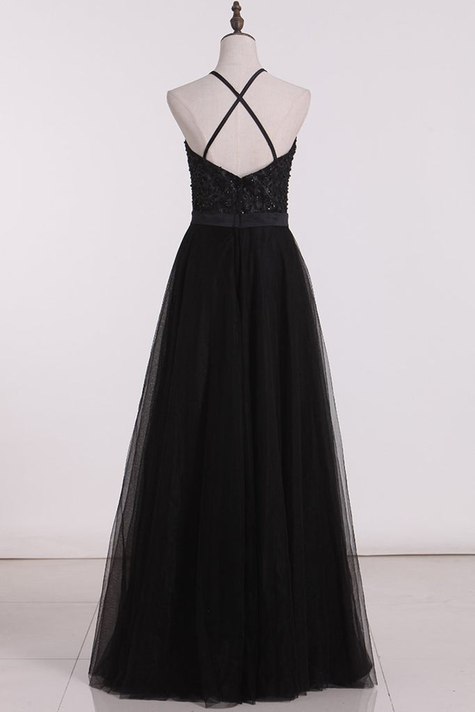 Bridesmaid Dresses A Line Scoop Open Back Tulle With Embroidery And
