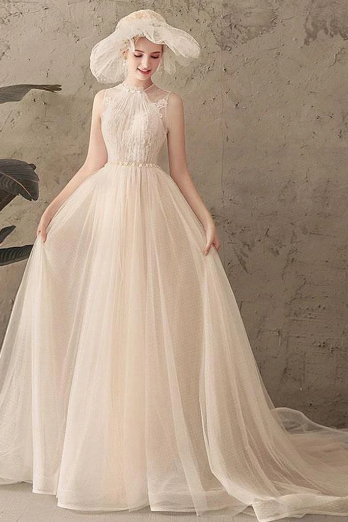 Ivory Jewel Sleeveless Tulle Wedding Dress With Lace A Line Pleats Open Back Bridal STBPXNMNP57