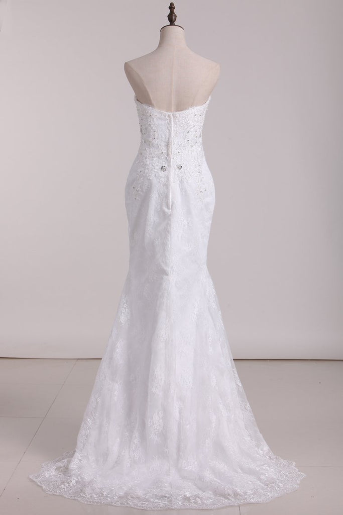 2019 Wedding Dresses Sweetheart Lace With Applique And Beads Mermaid Court Train