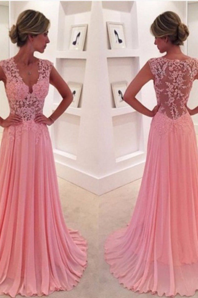 2019 A Line V Neck Prom Dresses Chiffon With Applique