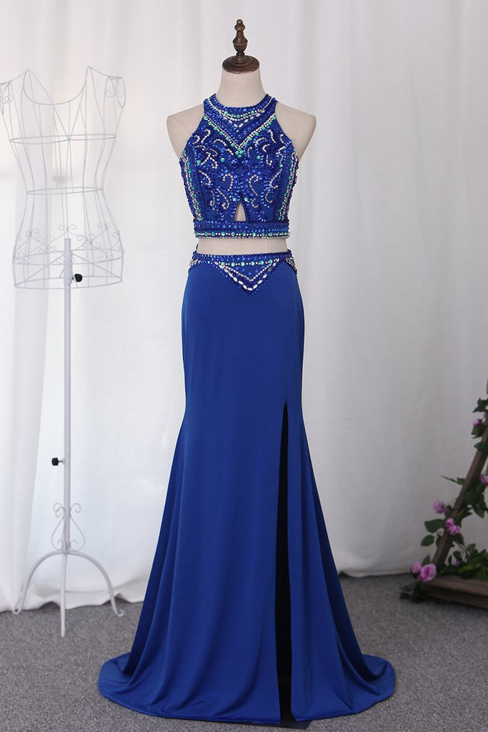 2019 Two-Piece Scoop Spandex With Beads And Slit Prom Dresses