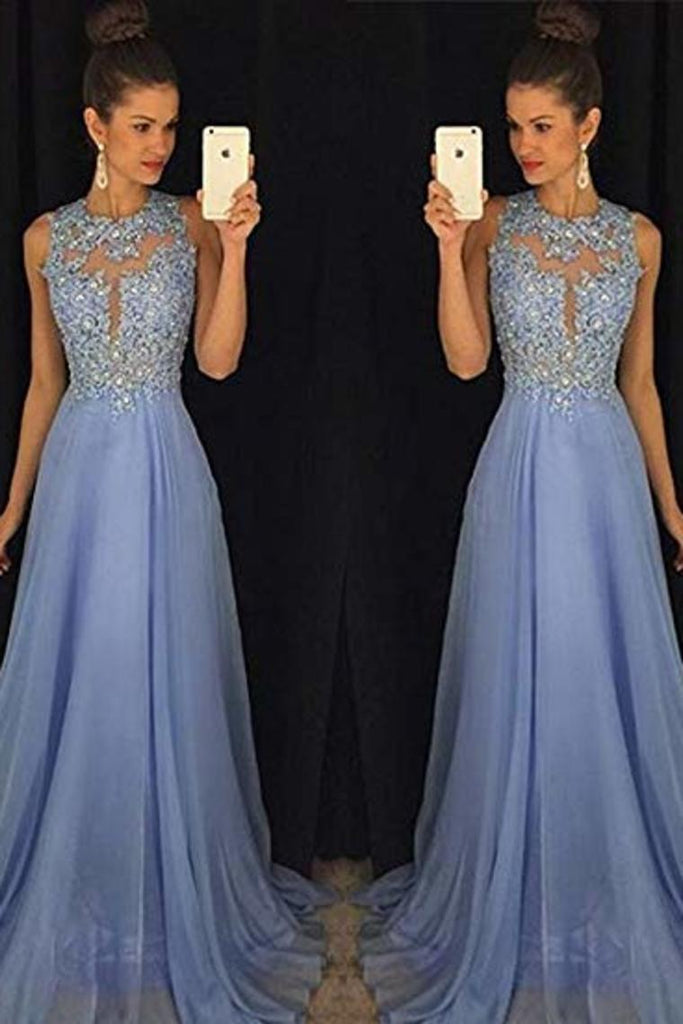A-Line Round Neck Lace Chiffon Tulle Ball Gown Beading Evening