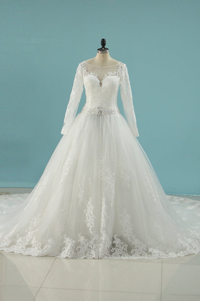 2019 Scoop Wedding Dresses A Line Long Sleeves