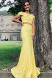 Slash Neck Two Piece Lace Mermaid Yellow Prom