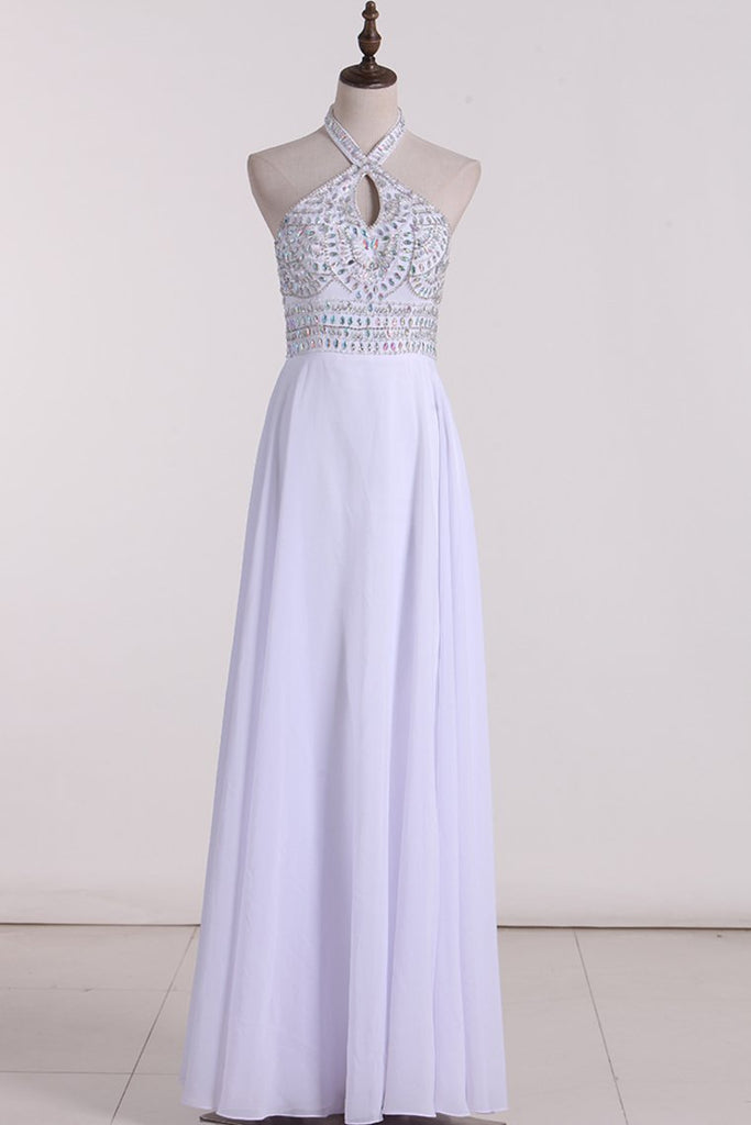 2019 Halter Beaded Bodice A Line Prom Dresses Chiffon With