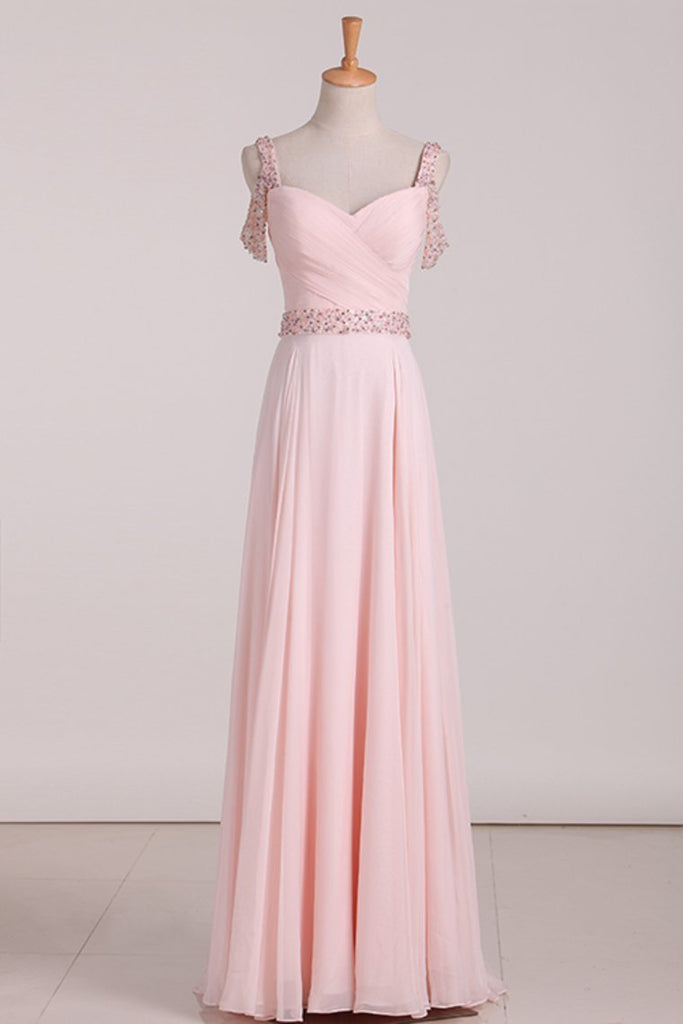 2019 A Line Straps Chiffon With Ruffles And Beads Prom Dresses