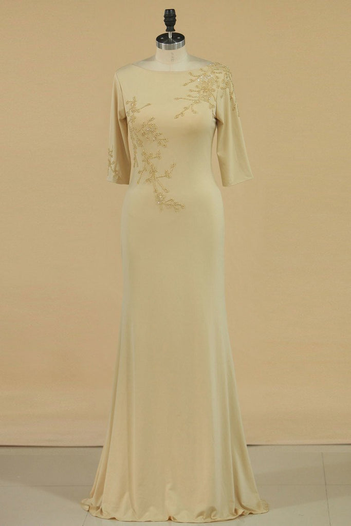 2019 Mother Of The Bride Dresses Bateau 3/4 Length Sleeve Spandex With Beads