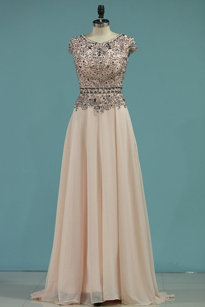 2019 Chiffon Scoop Beaded Bodice Prom Dresses A Line Short