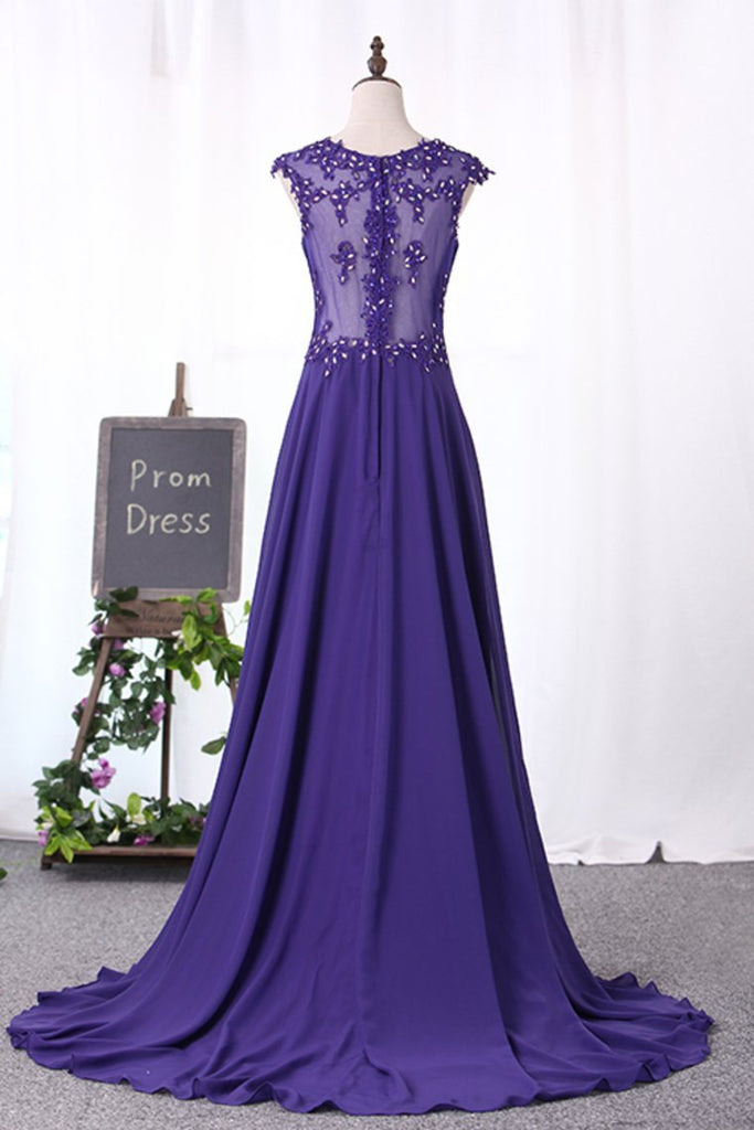 2019 Scoop Prom Dresses A Line Chiffon With Ruffles